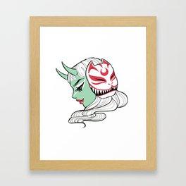Kitsune Mask and Oni Girl (Japanese Demon) Framed Art Print