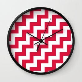 White and Crimson Red Steps RTL Wall Clock