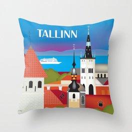 Tallinn, Estonia - Skyline Illustration by Loose Petals Throw Pillow