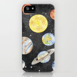 Watercolor Planets iPhone Case