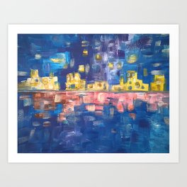 City lights in blue night | Colorful acrylic painting Art Print