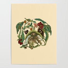 Botanical English Bulldog Poster