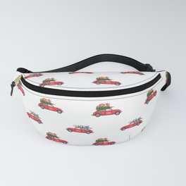 Santa Claus christmas car in winter forest II Fanny Pack