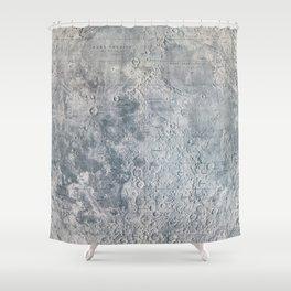 Vintage Lunar Moon Map, 1960s Shower Curtain