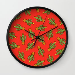 Cactus Christmas Tree in Red Wall Clock