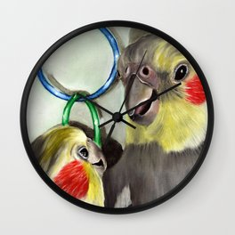 Chit Chat Cockatiel Painting Wall Clock