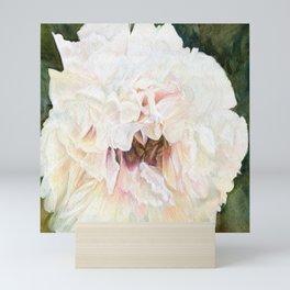 White Peony Watercolor Botanical Art Mini Art Print