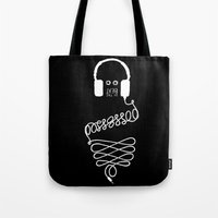 three of the possessed Tote Bags featuring Possessed by the Beat (black) by Daniel Viberg
