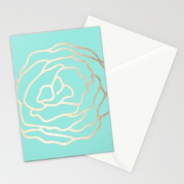 Flower in White Gold Sands on Tropical Sea Blue Stationery Cards