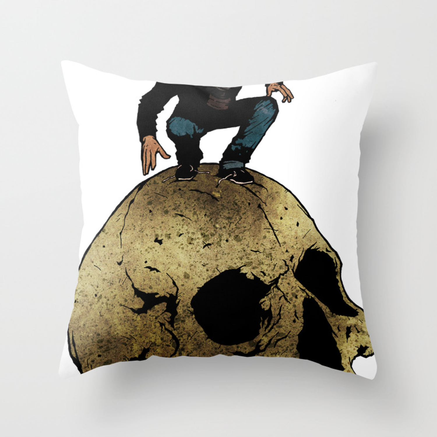 Leroy And The Giant S Giant Skull Throw Pillow By Matthewdunnart Society6