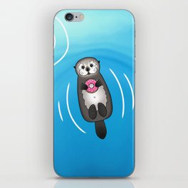 Sea Otter with Donut - Cute Otter Holding Doughnut iPhone Skin
