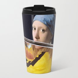 Beatrix Kiddo and Vermeer's Girl with a Pearl Earring Travel Mug