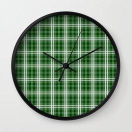 Christmas Tree Green Tartan Plaid Check Wall Clock