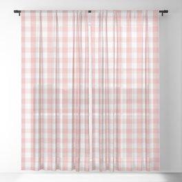 Large Lush Blush Pink and White Gingham Check Sheer Curtain