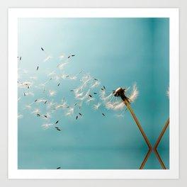 Dandelion Blowing in the Wind Art Print