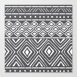 African Mud Cloth // Charcoal Canvas Print
