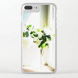 Vase of Flowers with shadows watercolor Clear iPhone Case