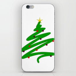 Minimalist Green Christmas Tree and Ornaments Doodle Pattern iPhone Skin