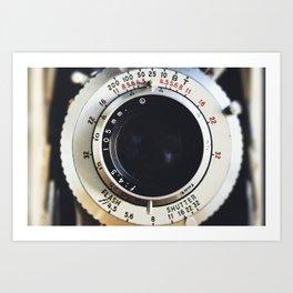 Close-Up Photo of Vintage Camera Art Print