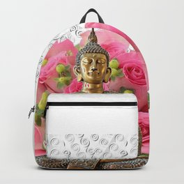 Buddha Rose Silver Mandala Backpack