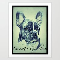 pugs Art Prints featuring Pugs by Gianluca Fascetto Tattooer Painter