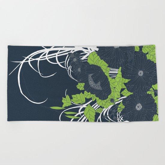 Midnight Flowers Beach Towel