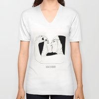 lesbian V-neck T-shirts featuring Lesbian Nuns  by sausageplayground