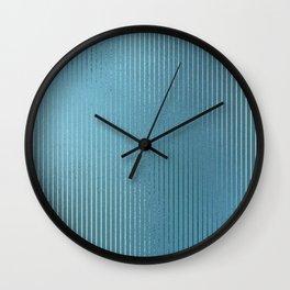 Minimalist Vertical Line Pattern in Iridescent Blue 32 Wall Clock