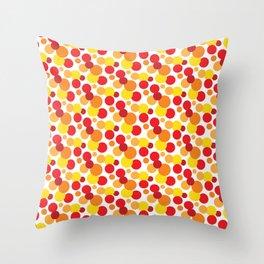 Bright Red, Orange & Yellow Spot Pattern Throw Pillow