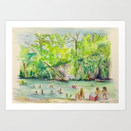 Krause Springs - historic Texas natural springs swimming hole Art Print