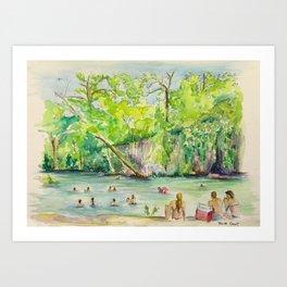 Krause Springs - historic Texas natural springs swimming hole Art Print