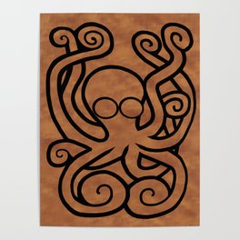 Octo-Doodle-Pus Brown Poster