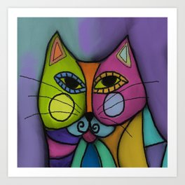 Calico Cat Colorful Abstract Digital Painting  Art Print