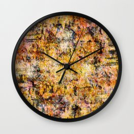 Urban Grunge Decay Texture Abstract Pattern Design , Rugged Mixed Media Modern Art Painting Wall Clock