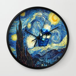 Soaring Tardis doctor who starry night oil painting Wall Clock