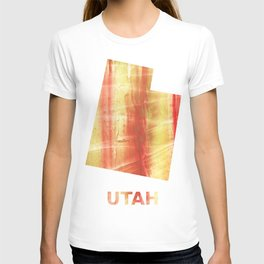 Utah map outline Red Yellow colorful watercolor texture T-shirt