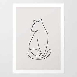 One Line Kitty Art Print