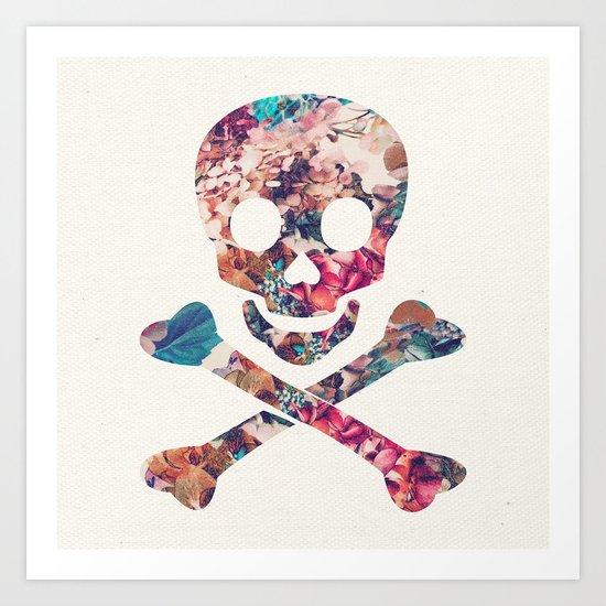 Pink Teal Vintage Floral Pattern Skull Cross Bones Art Print