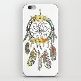 Watercolor floral dream catcher iPhone Skin