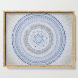 Elegant Blue Silver China Inspired Mandala Serving Tray