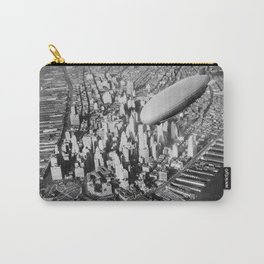 USS Akron in flight over Manhattan skyscrapers black and white photography Carry-All Pouch