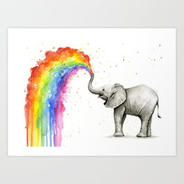 Baby Elephant Spraying Rainbow Kunstdrucke