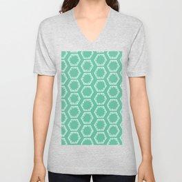 Hand drawn green hexagon graphic seamless pattern. Unisex V-Neck
