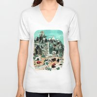 canada V-neck T-shirts featuring Wild Canada by Mathilde George
