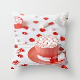 Hot chocolate with marshmallows Throw Pillow