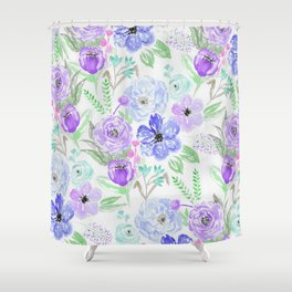 Hand painted lavender lilac blue watercolor flowers Shower Curtain