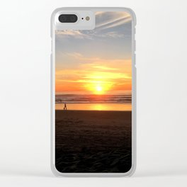 WALKING ON THE BEACH AT SUNSET Clear iPhone Case