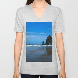Haystack Rock Cannon Beach Unisex V-Neck