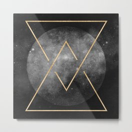 Gold Moon Geometric Tribal Design Metal Print
