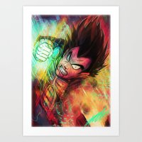 vegeta Art Prints featuring Vegeta by Andre Beja